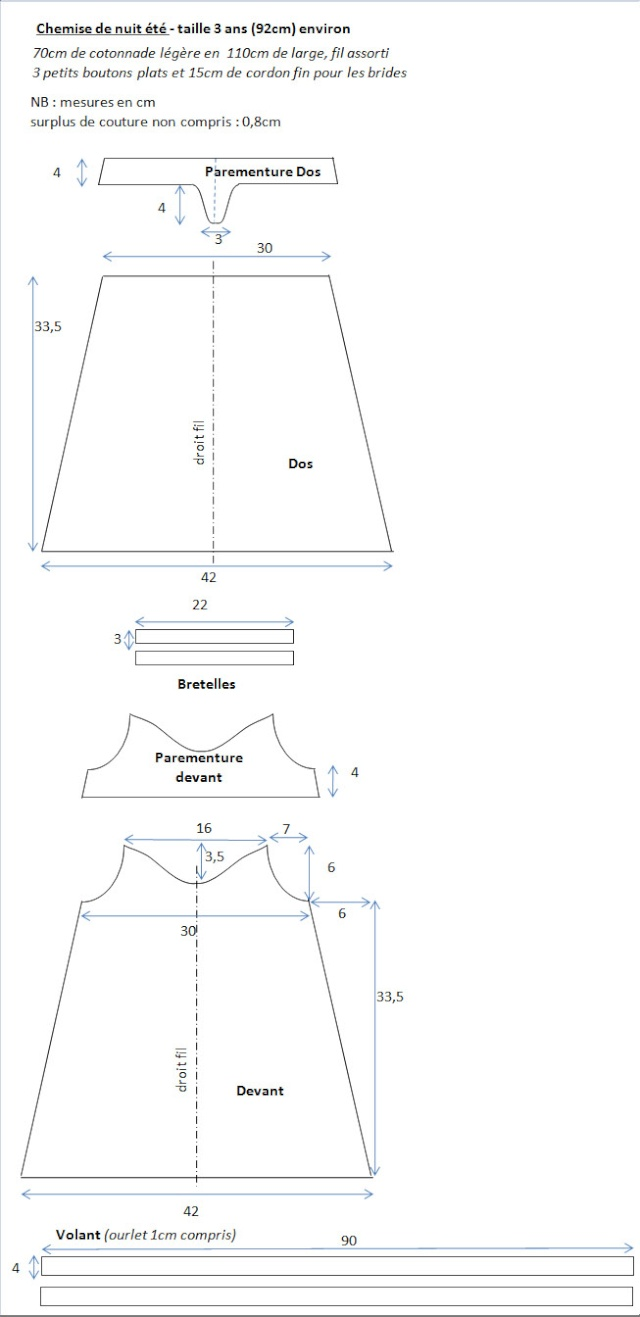 patron couture chemise nuit fille
