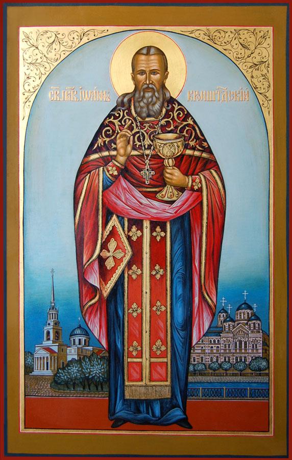 saint Jean de Cronstadt presente le saint Calice - icone orthodoxe