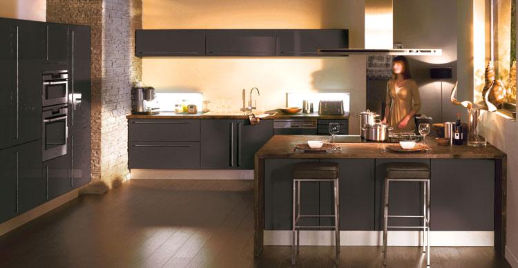 Couleur mur avec cuisine taupe for Les modeles de cuisines en bois